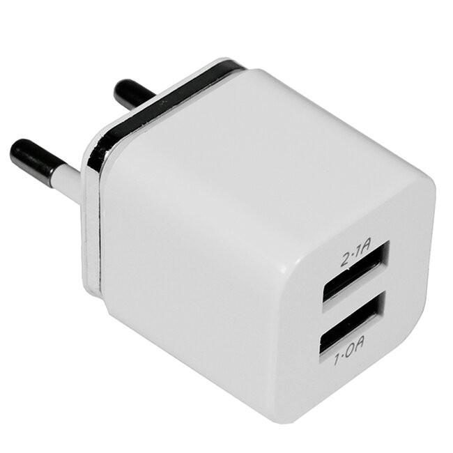Φορτιστής USB 2 Θέσεων Wall Adapter 2.1A & 1A 5V DC Λευκός με Χρώμιο GloboStar 69996 - 2