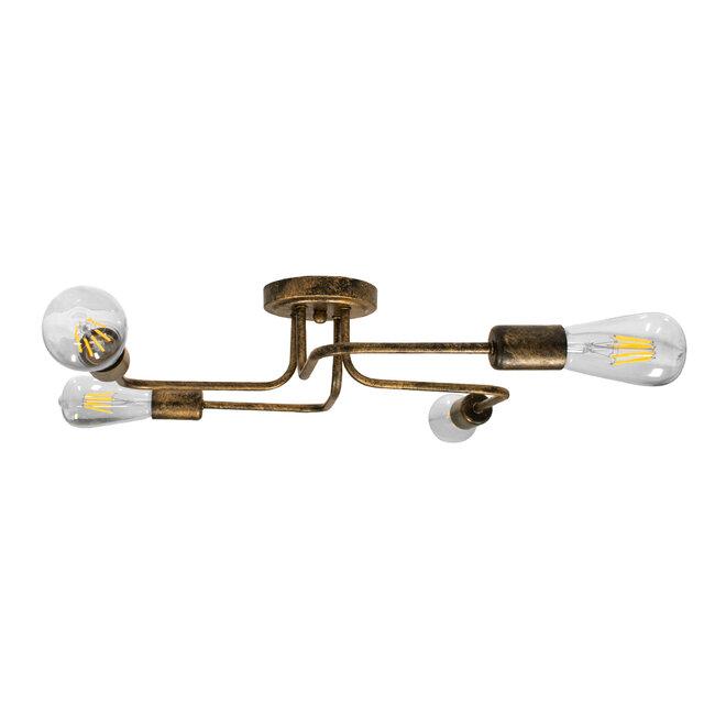 GloboStar® LIBERTA 00839 Μοντέρνο Φωτιστικό Οροφής Πολύφωτο Χάλκινο Σκουριά Μ44.5 x Π44.5 x Υ12cm - 6
