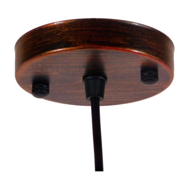 Vintage Industrial Κρεμαστό Φωτιστικό Οροφής Μονόφωτο Καφέ Σκουριά Μεταλλικό Καμπάνα Φ26  RAY IRON RUST 01047 - 7