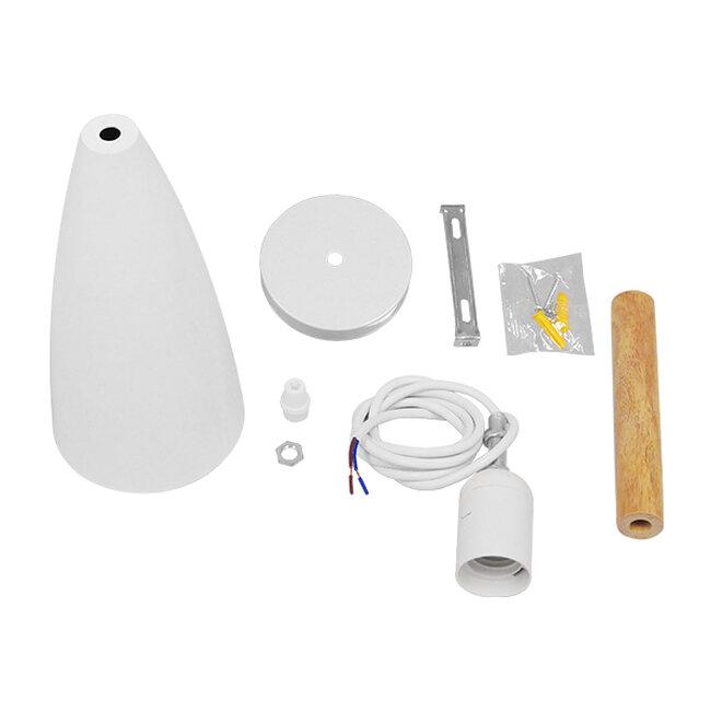 Μοντέρνο Κρεμαστό Φωτιστικό Οροφής Μονόφωτο Λευκό Μεταλλικό Καμπάνα Φ11  DILLON WHITE 00876 - 8