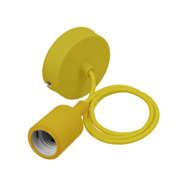 Κίτρινο Κρεμαστό Φωτιστικό Οροφής Σιλικόνης με Υφασμάτινο Καλώδιο 1 Μέτρο E27  Yellow 91006 - 1