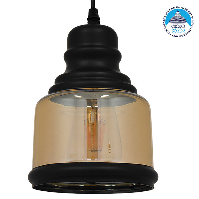 Vintage Κρεμαστό Φωτιστικό Οροφής Μονόφωτο Γυάλινο Μελί Διάφανο Φ15  WILLIAM 01506 - 1