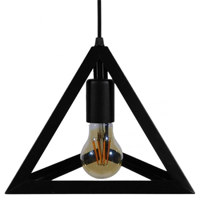 Μοντέρνο Κρεμαστό Φωτιστικό Οροφής Μονόφωτο Μαύρο Μεταλλικό Πλέγμα Φ25 GloboStar TRIANGLE 01063 - 7