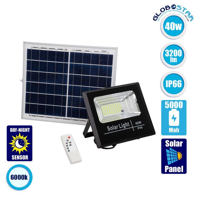 71555 Αυτόνομος Ηλιακός Προβολέας LED SMD 40W 3200lm με Ενσωματωμένη Μπαταρία 5000mAh - Φωτοβολταϊκό Πάνελ με Αισθητήρα Ημέρας-Νύχτας και Ασύρματο Χειριστήριο RF 2.4Ghz Αδιάβροχος IP66 Ψυχρό Λευκό 6000K - 1