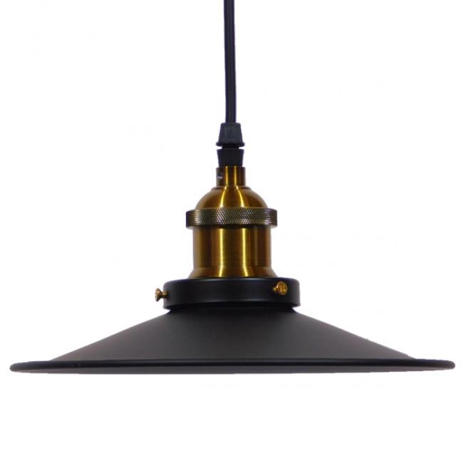 Vintage Industrial Κρεμαστό Φωτιστικό Οροφής Μονόφωτο Μαύρο Μεταλλικό Καμπάνα Φ22 GloboStar CARAVEL 01167 - 4