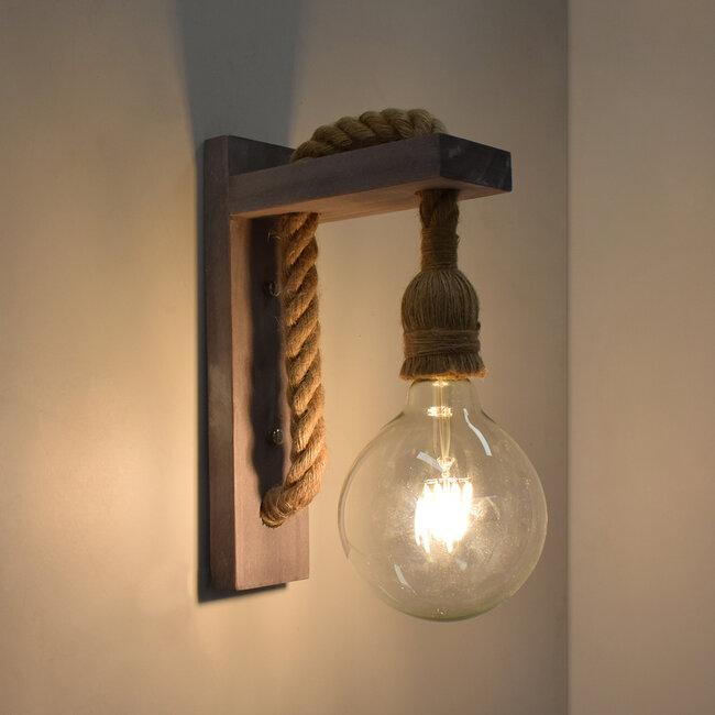 KENSI 00879 Vintage Φωτιστικό Τοίχου Απλίκα Μονόφωτο Γκρι Ξύλινο με Σχοινί Μ7 x Π20 x Υ30cm - 3