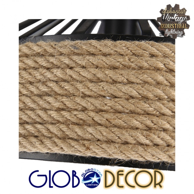 Vintage Κρεμαστό Φωτιστικό Οροφής Μονόφωτο Μαύρο Μεταλλικό με Μπεζ Σχοινί Φ30 GloboStar POLI 01146 - 4