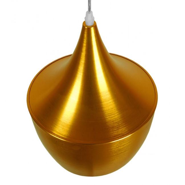 Μοντέρνο Κρεμαστό Φωτιστικό Οροφής Μονόφωτο Χρυσό Μεταλλικό Καμπάνα Φ24 GloboStar NADONG 01544 - 4