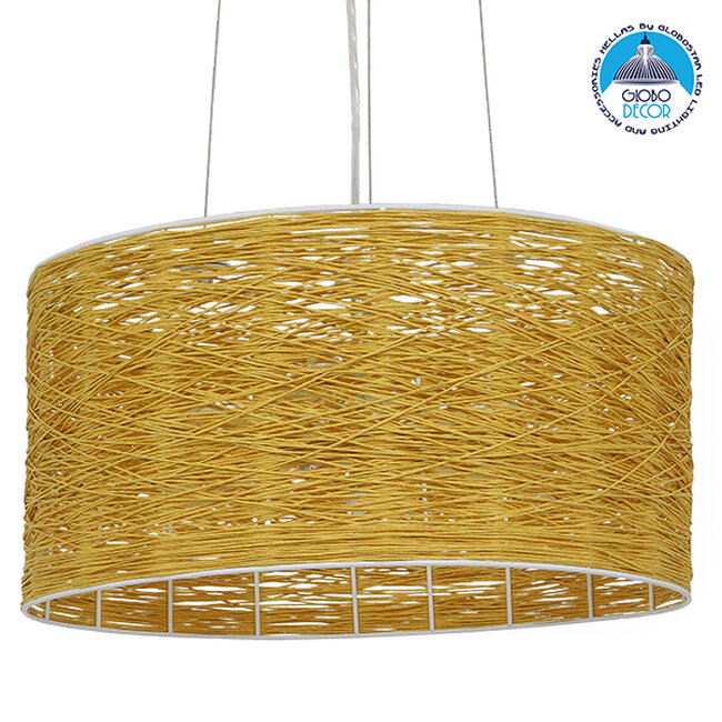 Vintage Κρεμαστό Φωτιστικό Οροφής Μονόφωτο Καφέ Ξύλινο Bamboo Φ40  MADAGASKAR 01630 - 1