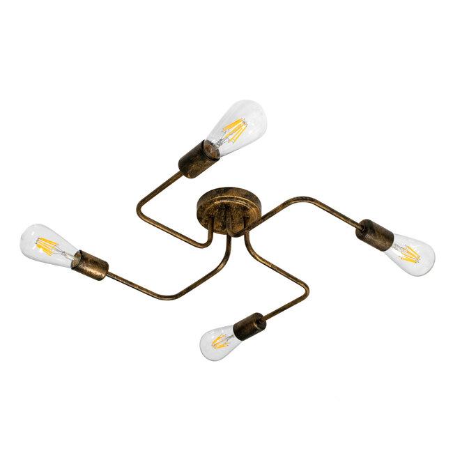 GloboStar® LIBERTA 00839 Μοντέρνο Φωτιστικό Οροφής Πολύφωτο Χάλκινο Σκουριά Μ44.5 x Π44.5 x Υ12cm - 2