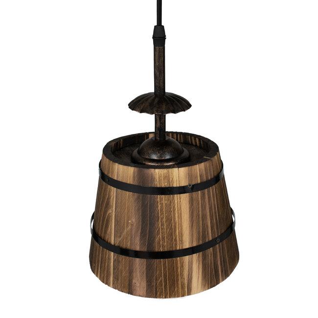 CEBU 00888 ΣΕΤ Vintage Κρεμαστό Φωτιστικό Οροφής Τρίφωτο Μεταλλικό Ξύλινο Φ40 x Y210cm - 8