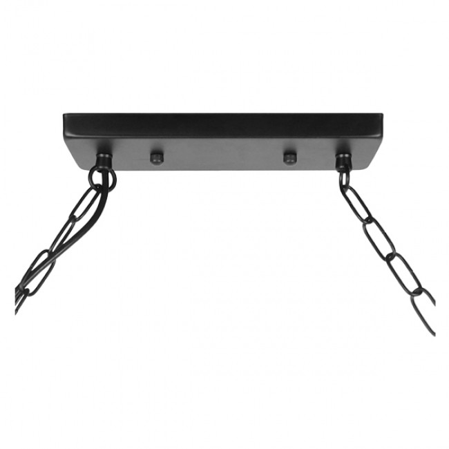 Vintage Industrial Κρεμαστό Φωτιστικό Οροφής Πολύφωτο Μαύρο Μεταλλικό με Μπεζ Σχοινί  RAILROAD 01379 - 7
