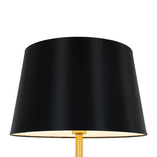 ASHLEY 00829 Μοντέρνο Φωτιστικό Δαπέδου Μονόφωτο Μεταλλικό Χρυσό με Μαύρο Καπέλο και Ξύλινη Λεπτομέρεια Φ40 x Υ148cm - 4