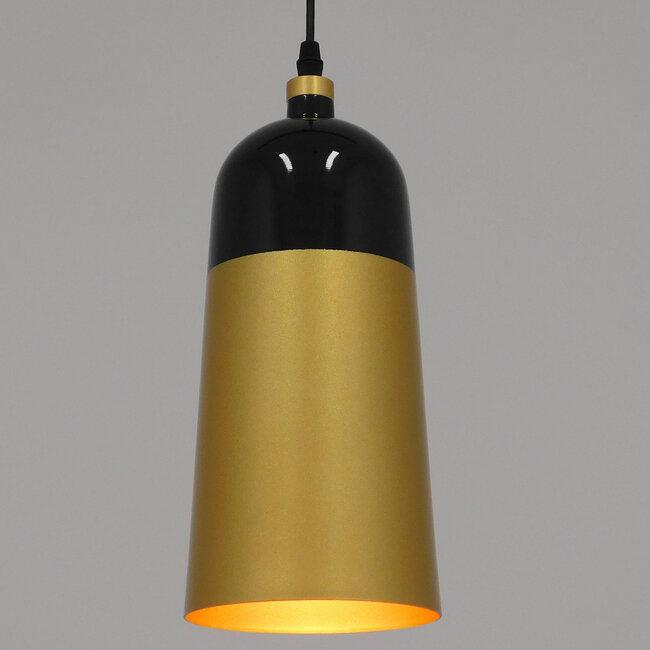 Μοντέρνο Κρεμαστό Φωτιστικό Οροφής Μονόφωτο Μαύρο - Χρυσό Μεταλλικό Καμπάνα Φ14  PALAZZO GOLD BLACK 01523 - 3