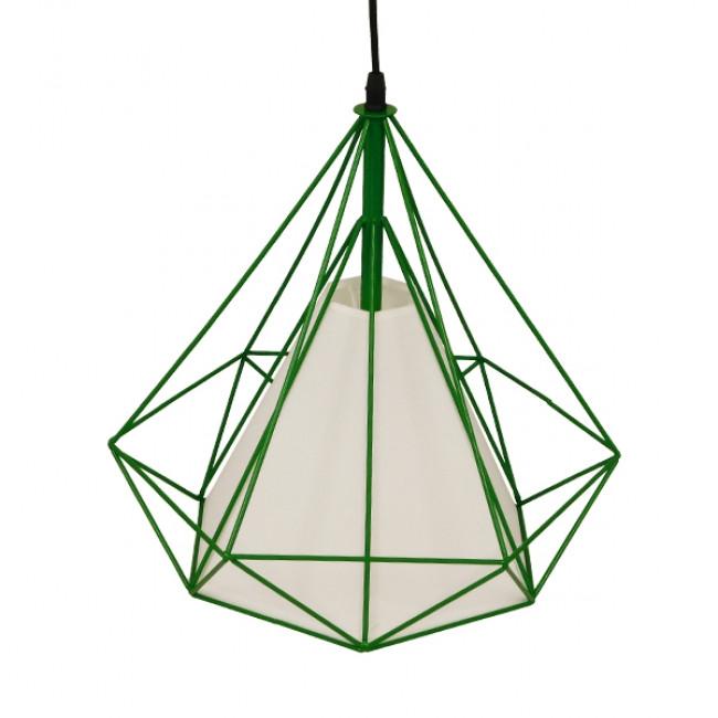 Μοντέρνο Industrial Κρεμαστό Φωτιστικό Οροφής Μονόφωτο Πράσινο με Άσπρο Ύφασμα Μεταλλικό Πλέγμα Φ38  KAIRI GREEN 01622 - 5