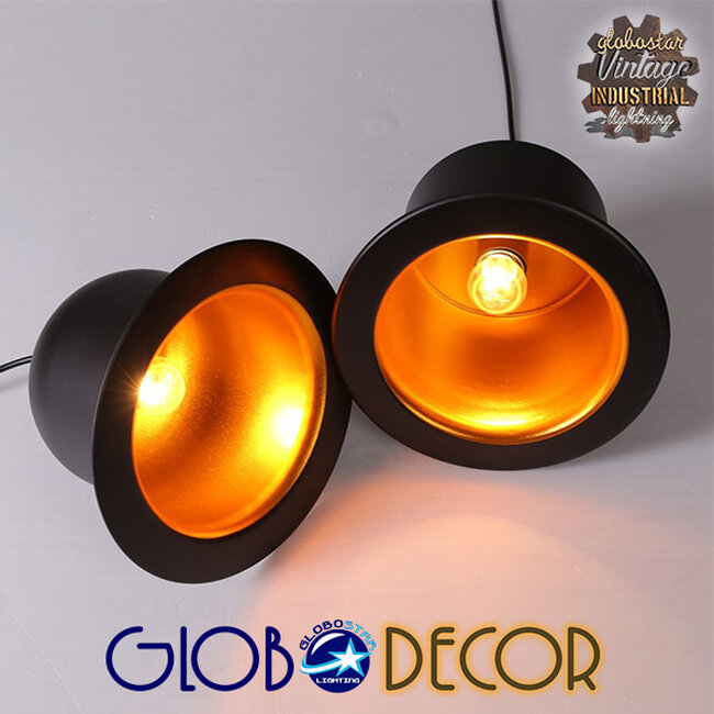Vintage Κρεμαστό Φωτιστικό Οροφής Μονόφωτο Μαύρο Μεταλλικό Καμπάνα Φ26  CHARLO 01214 - 10
