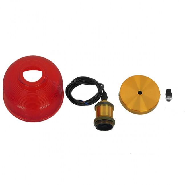 Vintage Κρεμαστό Φωτιστικό Οροφής Μονόφωτο Κόκκινο Γυάλινο Διάφανο Καμπάνα με Χρυσό Ντουί Φ14  SEGRETO RED 01450 - 9