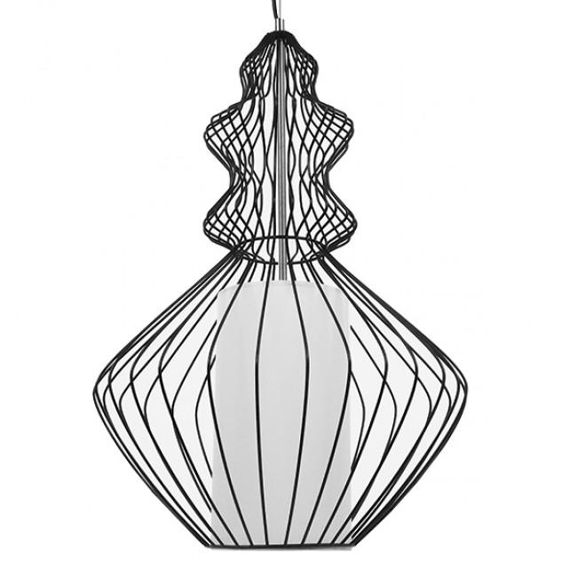 Vintage Industrial Κρεμαστό Φωτιστικό Οροφής Μονόφωτο Μαύρο Μεταλλικό Πλέγμα και Υφασμάτινο Εσωτερικό Καπέλο Φ40 GloboStar LILY 01558 - 3