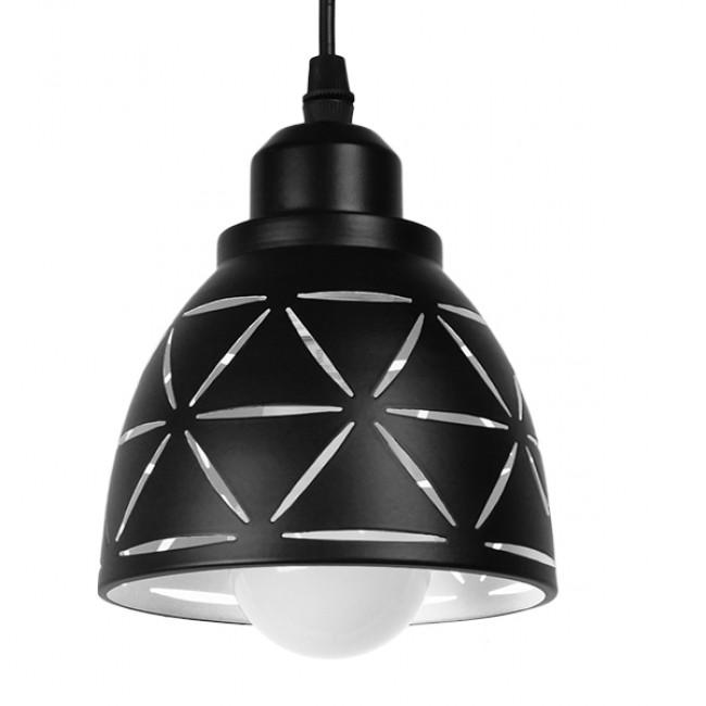 Μοντέρνο Κρεμαστό Φωτιστικό Οροφής Μονόφωτο Μεταλλικό Μαύρο Λευκό Καμπάνα Φ13 GloboStar COOLIE 01475