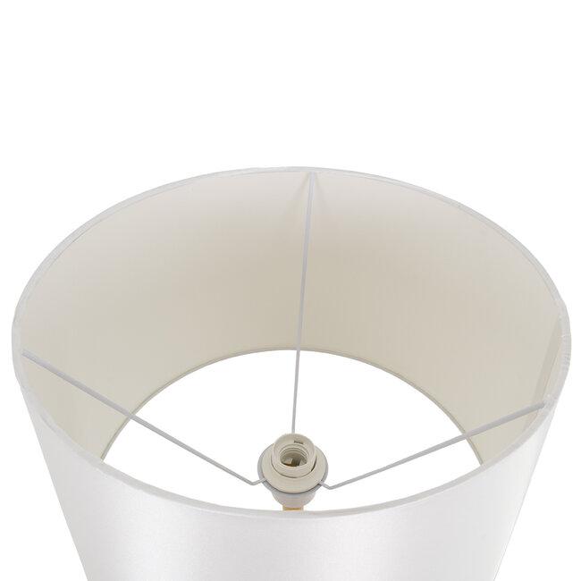 ASHLEY 00828 Μοντέρνο Φωτιστικό Δαπέδου Μονόφωτο Μεταλλικό Λευκό με Καπέλο και Ξύλινη Λεπτομέρεια Φ40 x Υ148cm - 5