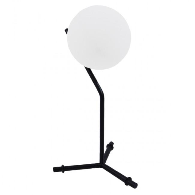 Μοντέρνο Επιτραπέζιο Φωτιστικό Πορτατίφ Μονόφωτο Μαύρο Μεταλλικό με Λευκό Γυαλί Φ23 GloboStar ELFRIS 01100 - 1