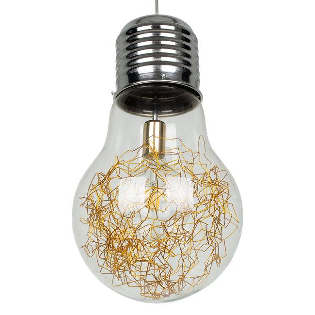 LAMP 00808 Μοντέρνο Κρεμαστό Φωτιστικό Οροφής Μονόφωτο Ασημί Νίκελ Βάση και Χρυσό Ντουί Μεταλλικό Διάφανο Γυαλί Φ30 x Υ52cm - 5