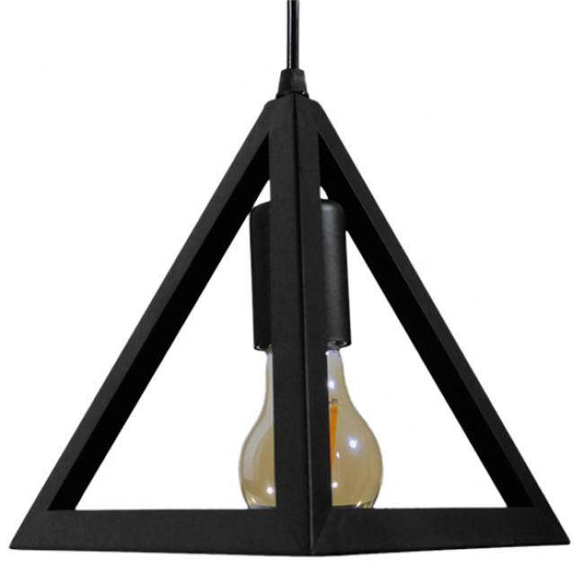Μοντέρνο Κρεμαστό Φωτιστικό Οροφής Μονόφωτο Μαύρο Μεταλλικό Πλέγμα Φ25 GloboStar TRIANGLE 01063 - 5