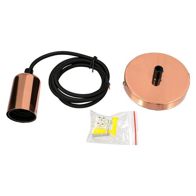 GloboStar® LUMI COPPER 99422 Μοντέρνο Μεταλλικό Κρεμαστό Φωτιστικό Οροφής Ανάρτηση με Ντουί E27 Μονόφωτο Χάλκινο Φ4 x Y118cm - 2