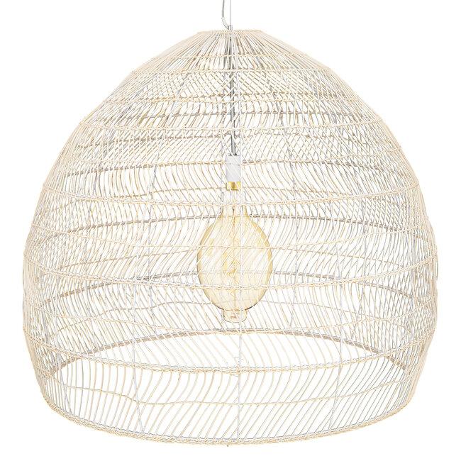 GloboStar® MALIBU 00965 Vintage Κρεμαστό Φωτιστικό Οροφής Μονόφωτο Μπεζ Ξύλινο Bamboo Φ97 x Y86cm - 5