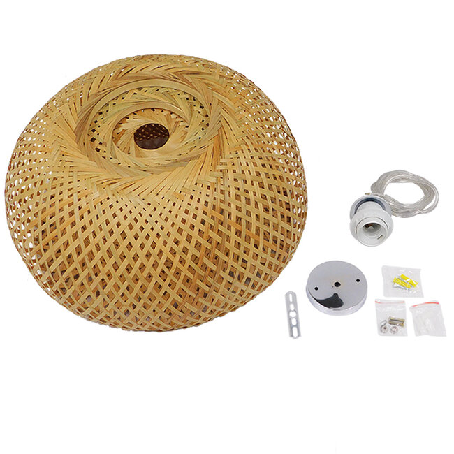 Vintage Κρεμαστό Φωτιστικό Οροφής Μονόφωτο Καφέ Ξύλινο Bamboo Φ38  SAN TROPEZ 01626 - 9