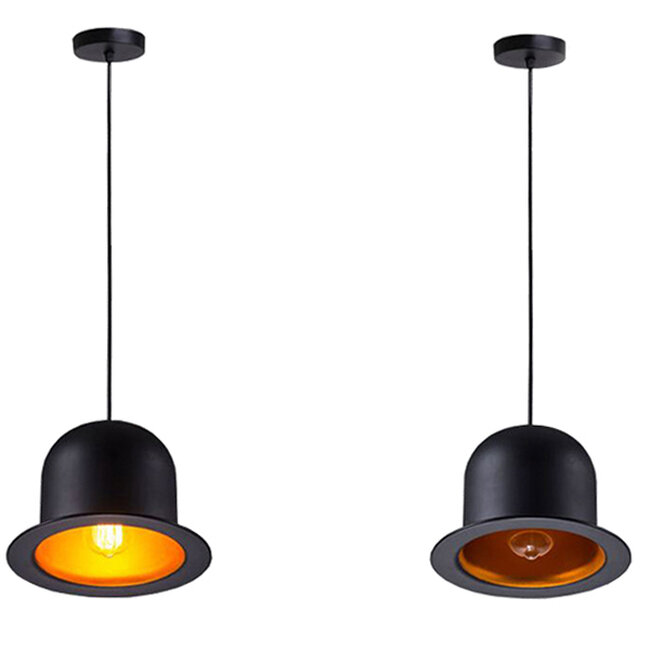 Vintage Κρεμαστό Φωτιστικό Οροφής Μονόφωτο Μαύρο Μεταλλικό Καμπάνα Φ26  CHARLO 01214 - 5
