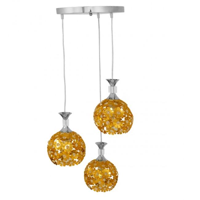 Μοντέρνο Κρεμαστό Φωτιστικό Οροφής Τρίφωτο Χρυσό Μεταλλικό με Κρύσταλλα Φ50 GloboStar MARGARITA 01670 - 3