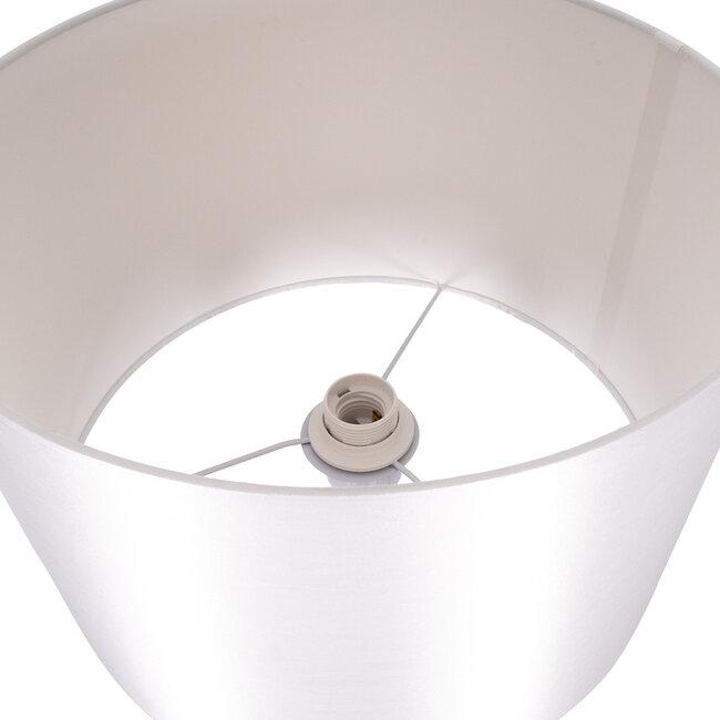 ASHLEY 00826 Μοντέρνο Φωτιστικό Δαπέδου Μονόφωτο Μεταλλικό Λευκό με Καπέλο και Ξύλινη Λεπτομέρεια Φ40 x Υ145cm - 5