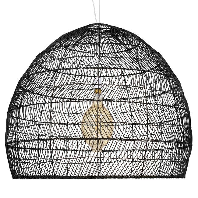 GloboStar® MALIBU 00966 Vintage Κρεμαστό Φωτιστικό Οροφής Μονόφωτο Μαύρο Ξύλινο Bamboo Φ97 x Y86cm - 4