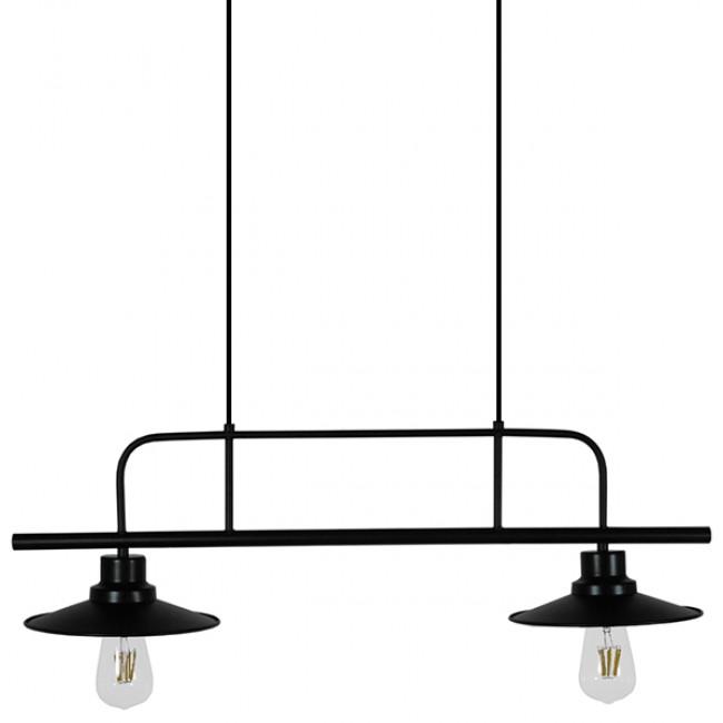 Vintage Industrial Φωτιστικό Οροφής Δίφωτο Μαύρο Μεταλλικό Ράγα GloboStar BILLIARD BLACK 01007 - 4