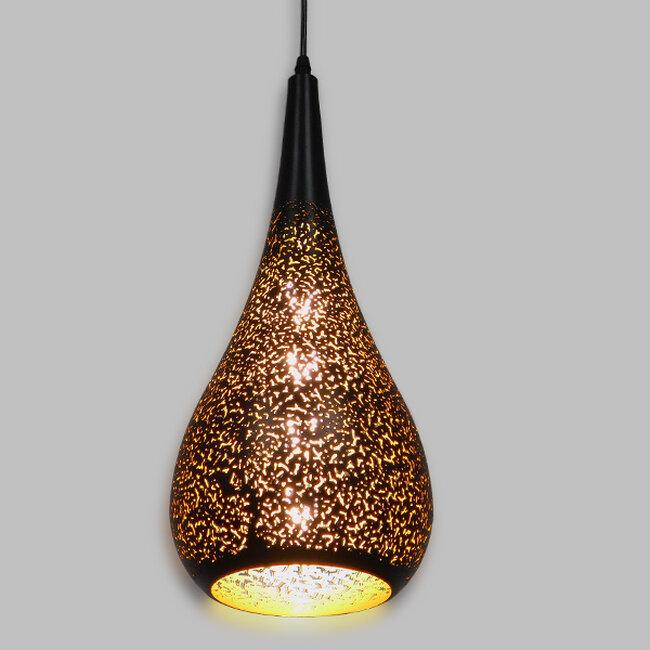 Μοντέρνο Κρεμαστό Φωτιστικό Οροφής Μονόφωτο Μαύρο με Χρυσό Μεταλλικό Καμπάνα Φ20  CORONA 01589 - 2
