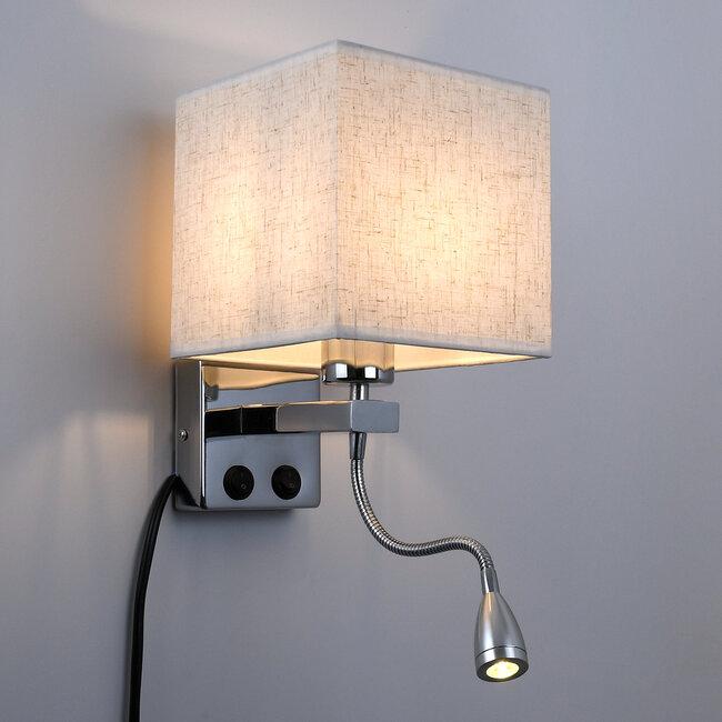 ELEGANT 01495 Μοντέρνο Φωτιστικό Τοίχου Απλίκα Μεταλλικό Χρώμιο Νίκελ με Λευκό Ύφασμα Δίφωτο 1xE27 - Ρυθμίζόμενο Σώμα Σπιράλ με CREE LED 3W Θερμό Λευκό 2700K - Διακόπτες On / Off Μ17 x Π21 x Υ43cm - 3