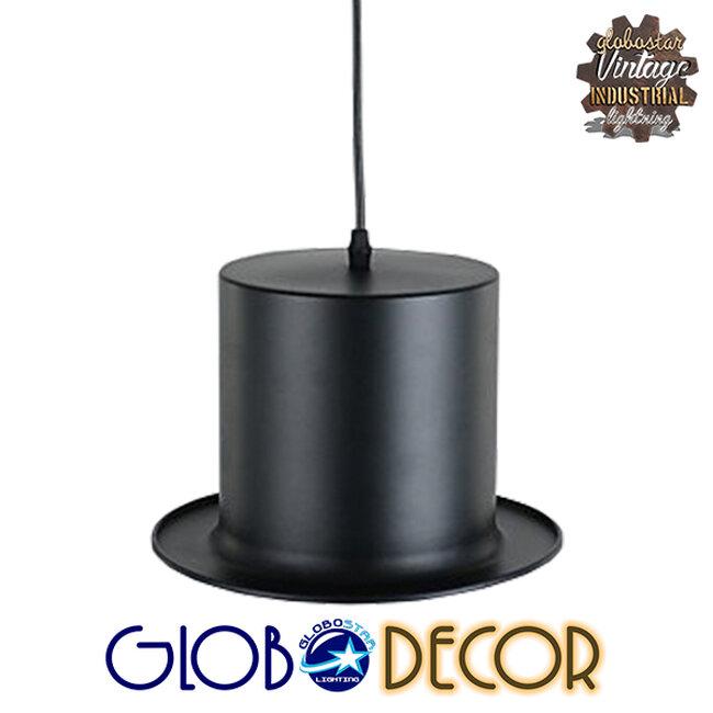 Vintage Κρεμαστό Φωτιστικό Οροφής Μονόφωτο Μαύρο Μεταλλικό Καμπάνα Φ26 GloboStar SHERLOCK 01215 - 6