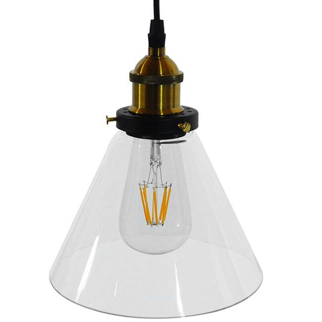 Vintage Κρεμαστό Φωτιστικό Οροφής Μονόφωτο Γυάλινο Καμπάνα Φ18  CONE 01169 - 4