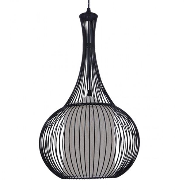 Μοντέρνο Κρεμαστό Φωτιστικό Οροφής Μονόφωτο Μαύρο Μεταλλικό Πλέγμα με Υφασμάτινο Εσωτερικό Καπέλο Φ30  BERNA 01198 - 3