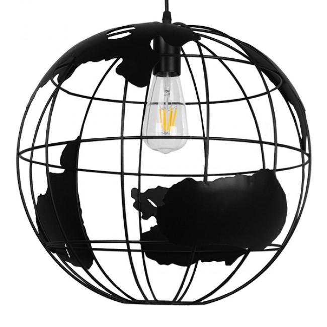 Vintage Industrial Κρεμαστό Φωτιστικό Οροφής Μονόφωτο Μαύρο Μεταλλικό Πλέγμα Φ40 GloboStar EARTH BLACK 40CM 01663 - 3