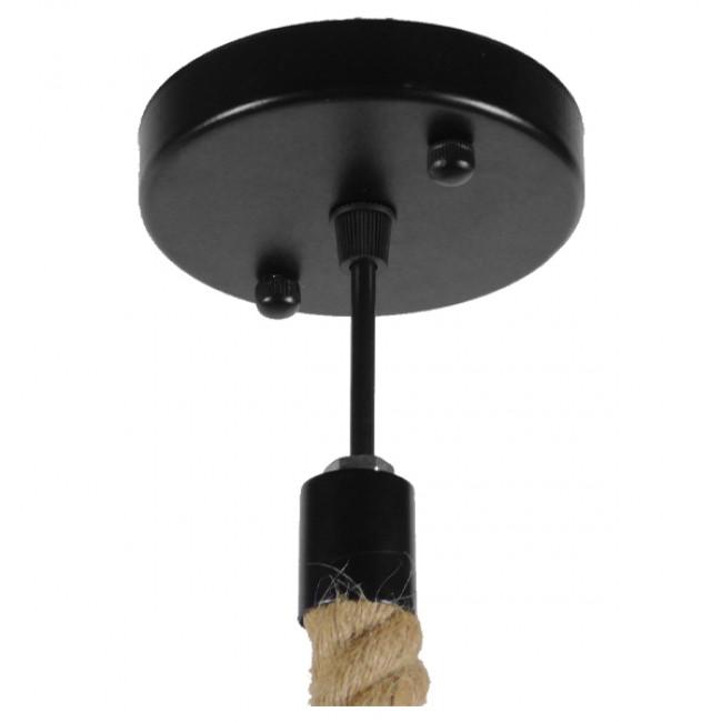 Vintage Industrial Κρεμαστό Φωτιστικό Οροφής Μονόφωτο Μαύρο Μεταλλικό Καμπάνα Πλέγμα με Μπεζ Σχοινί Φ36 GloboStar CRANE 01109 - 10