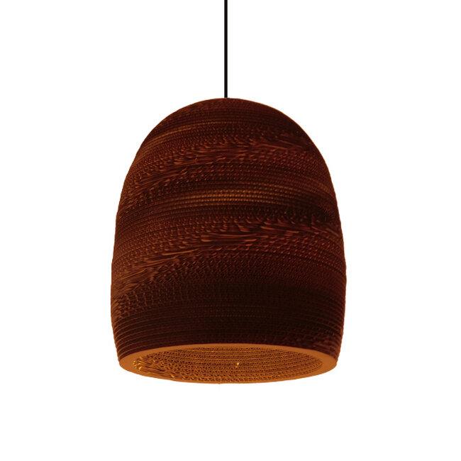 Vintage Κρεμαστό Φωτιστικό Οροφής Μονόφωτο 3D από Επεξεργασμένο Σκληρό Καφέ Χαρτόνι Καμπάνα Φ35  SKIATHOS 01296 - 9