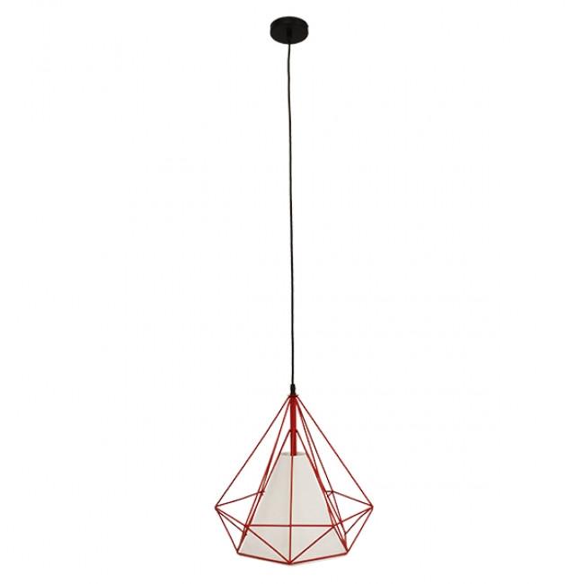 Μοντέρνο Industrial Κρεμαστό Φωτιστικό Οροφής Μονόφωτο Κόκκινο με Άσπρο Ύφασμα Μεταλλικό Πλέγμα Φ38 GloboStar KAIRI RED 01620 - 2