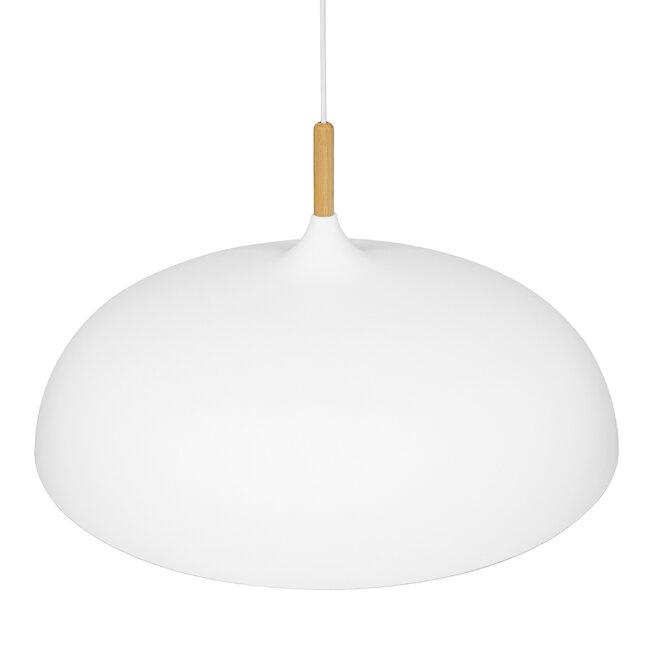 GloboStar® ZOE 00837 Μοντέρνο Κρεμαστό Φωτιστικό Οροφής Μονόφωτο Λευκό Μεταλλικό Καμπάνα Φ60 x Υ35cm - 5