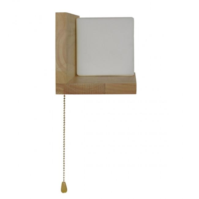 Μοντέρνο Φωτιστικό Τοίχου Απλίκα Ραφάκι Μονόφωτο Ξύλινο με Λευκό Ματ Γυαλί GloboStar AMITY RIGHT 01366 - 10