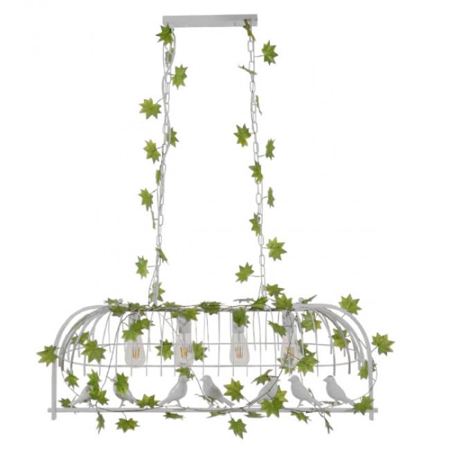Vintage Industrial Κρεμαστό Φωτιστικό Οροφής Πολύφωτο Λευκό Μεταλλικό Πλέγμα  NIDUS 01403 - 3