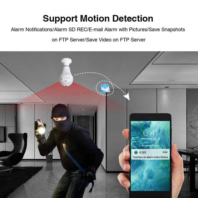 76073 WIFI 2.4G IP CAMERA 2.0MP 1080P - Έξυπνη Κρυφή IP Κάμερα WiFi 1080P Fish Eye 360° 3W LED σε Σχήμα Λάμπας με Ντουί και Βάση E27 Smart Home - 6