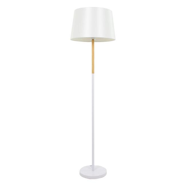 ASHLEY 00828 Μοντέρνο Φωτιστικό Δαπέδου Μονόφωτο Μεταλλικό Λευκό με Καπέλο και Ξύλινη Λεπτομέρεια Φ40 x Υ148cm - 2