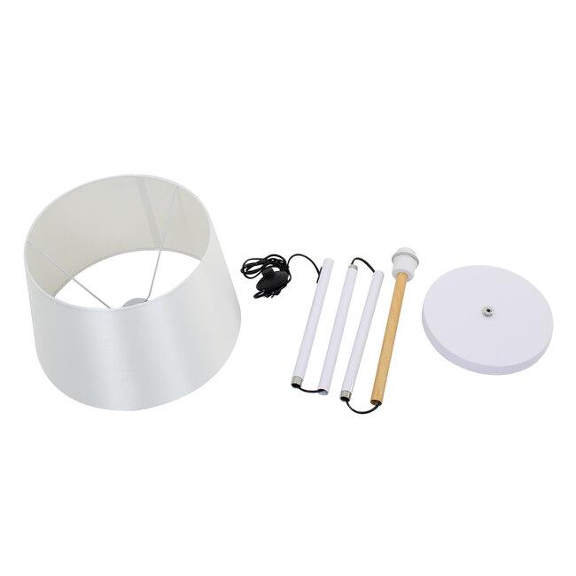 ASHLEY 00828 Μοντέρνο Φωτιστικό Δαπέδου Μονόφωτο Μεταλλικό Λευκό με Καπέλο και Ξύλινη Λεπτομέρεια Φ40 x Υ148cm - 9